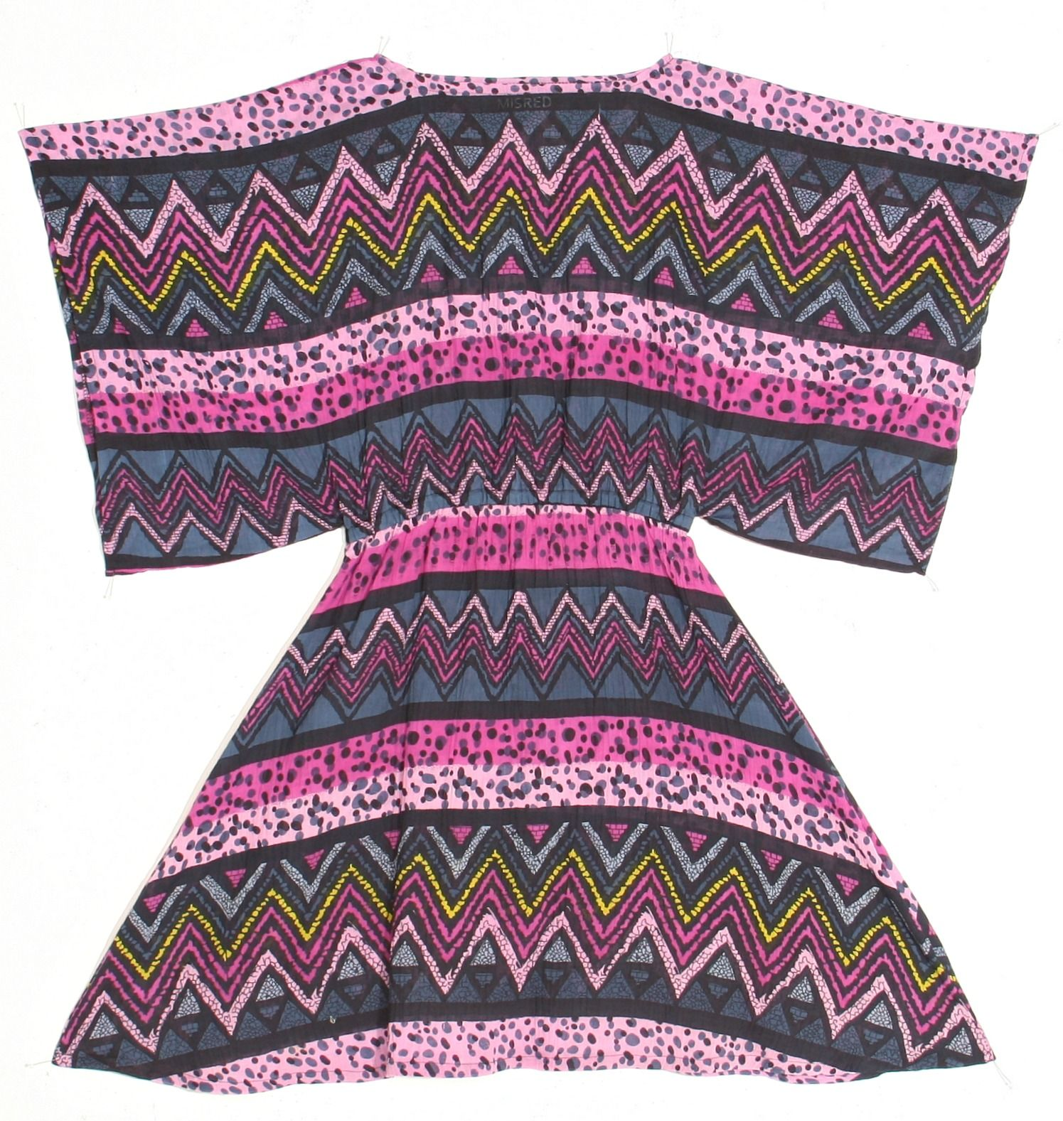 MISRED Black Label I Goldie Box Top Dress  Vintage Printed Short Draped Boho Dress