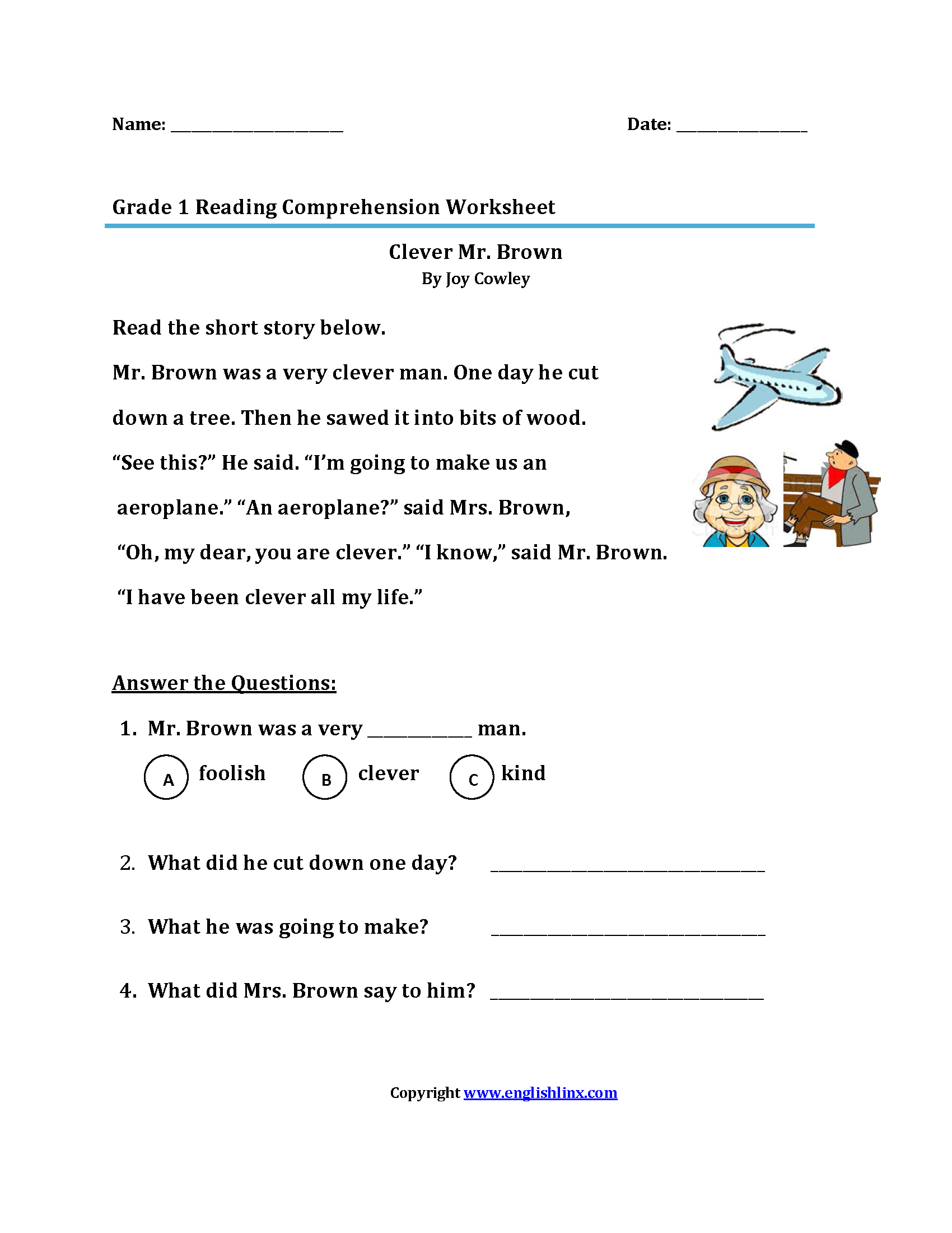 Clever Mr Brown First Grade Reading Worksheets