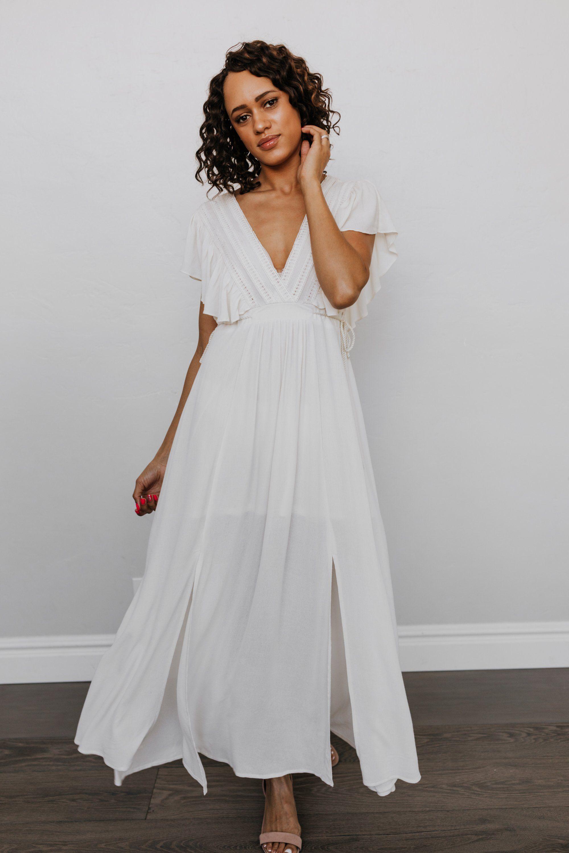 Jennifer Deep V Maxi Dress in Ivory XLarge   Baltic Born   Maxi ...