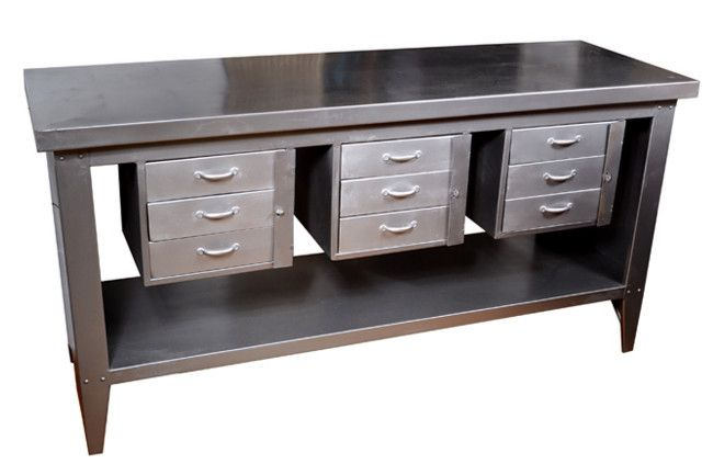 Attractive Industrial Kitchen Island By Fenton U0026 Fenton This Industrial Steel Nine  Drawer Kitchen Bench Offers Plenty Of.