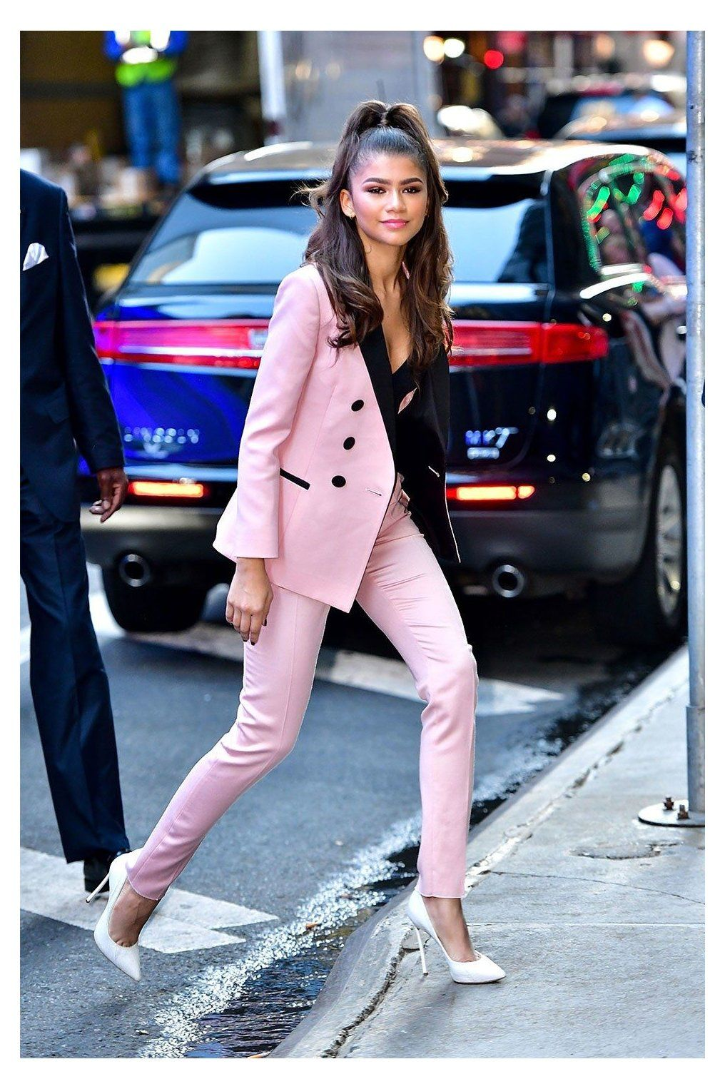 Zendaya Channels Business Barbie in Pink Suit zendaya pink suit The  trend lives on  Summer work outfits Blazer outfits for women Cool  outfits