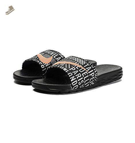 Nike Women's Wmns Benassi Solarsoft SLD 2 NWM, BLACK/SUNSET GLOW-BLACK-METALLIC SILVER 11US Women - Nike sneakers for women (*Amazon Partner-Link)
