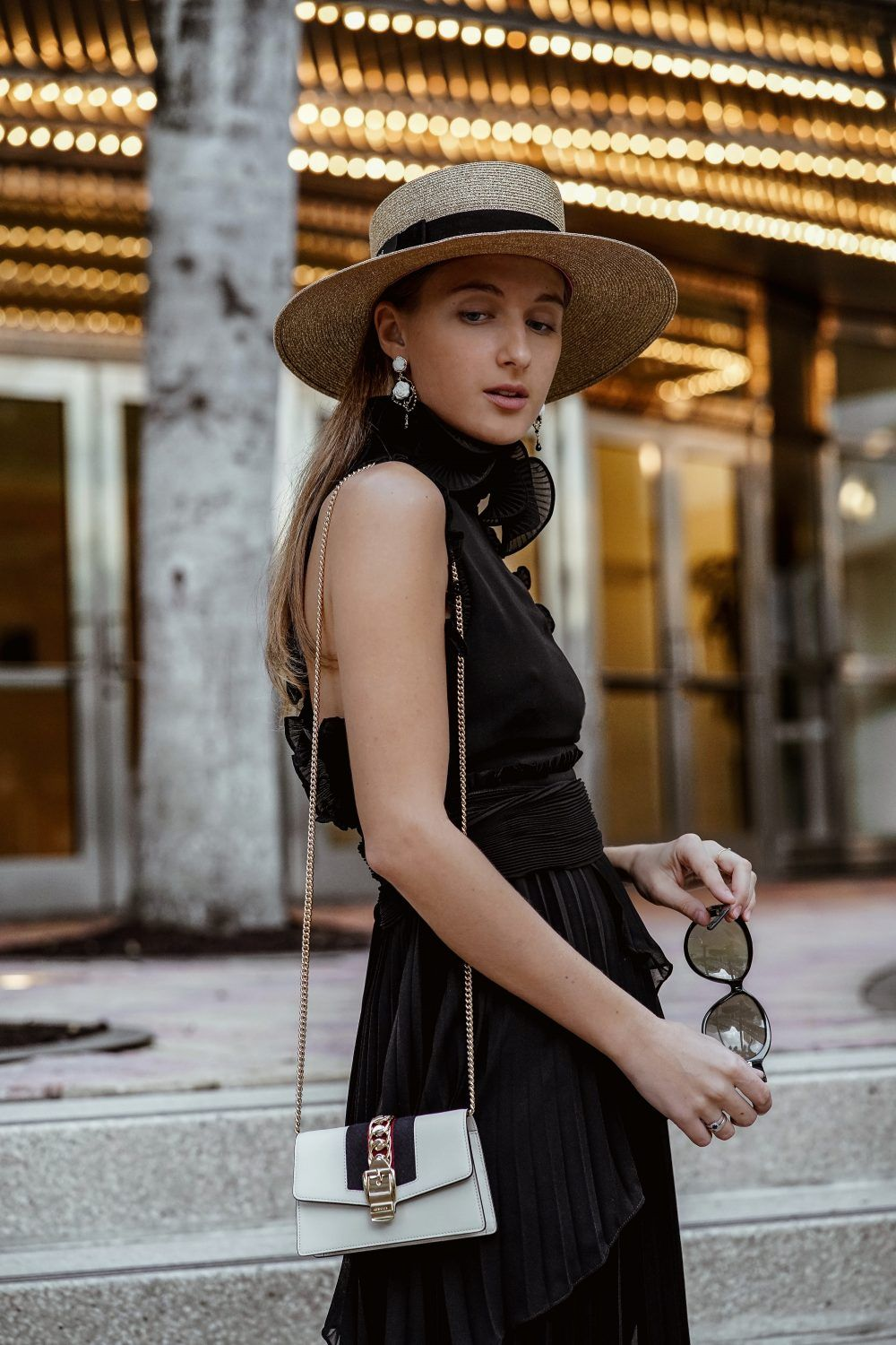 51468efba72c Gucci Papier Hat   Gucci Sylvie Bag outfit in street style story by Miami  fashion blogger Tanya Litkovska