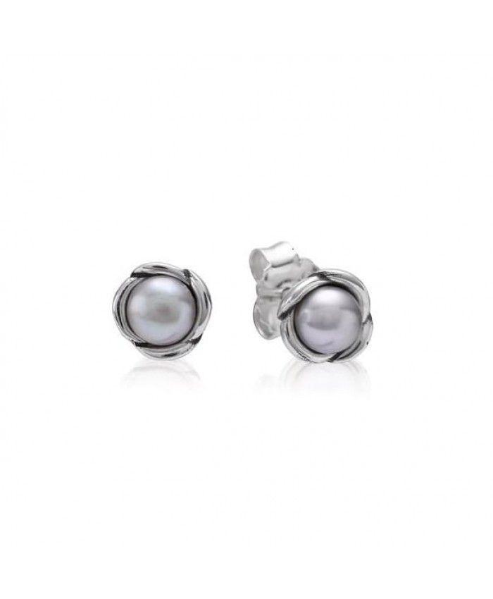 58d853178 Pandora Silver And Grey Pearl Petal Stud Earrings 290157GP On Sale ...