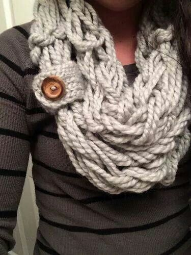 Buttoned scarf http://www.simplymaggie.com/how-to-arm-knit
