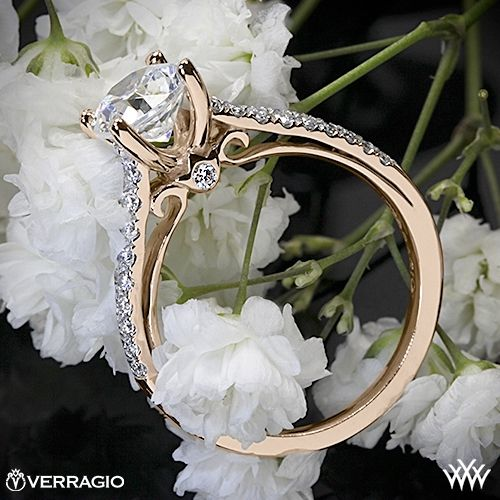 Verragio Double Pave Diamond Engagement Ring - ENG-0382R - Verragio Couture Collection. This designer engagement ring features 0.30ctw of Round Brilliant Diamond Melee (F/G VS) that enhance a round diamond center of your choice. The width tapers from 2.7mm at the top down to 1.8mm at the bottom.