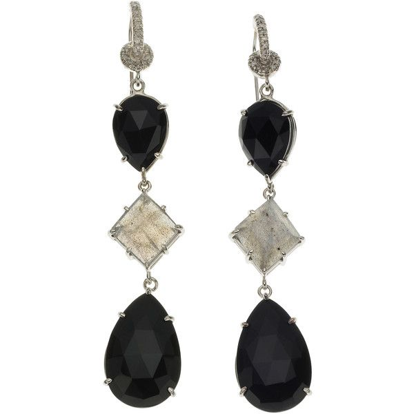 Nina Runsdorf Triple Tier Fancy Earrings ($1,750) ❤ liked on Polyvore featuring jewelry, earrings, special occasion earrings, evening earrings, white gold knot earrings, cocktail earrings and knot earrings