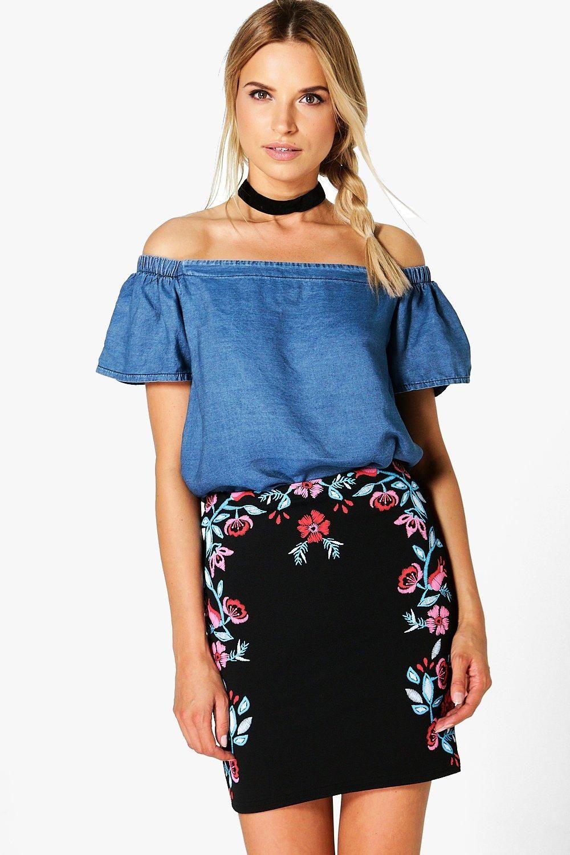 Priya Printed Embroidery Mini Skirt | Mini skirts, Boohoo and Embroidery