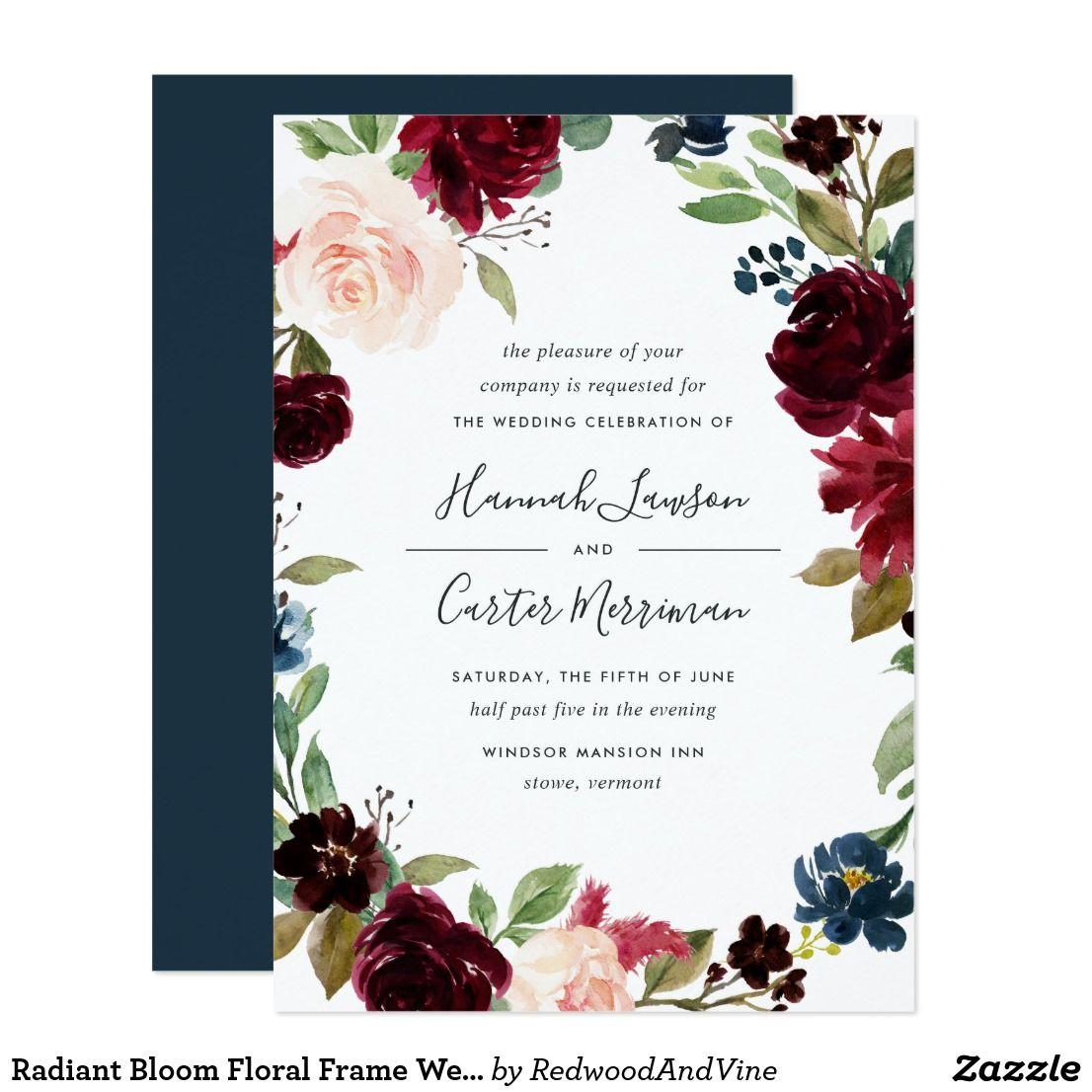 Radiant Bloom Floral Frame Wedding Invitation Zazzle Com Jewel Tone Wedding Invitations Floral Wedding Invitations Watercolor Wedding Invitations