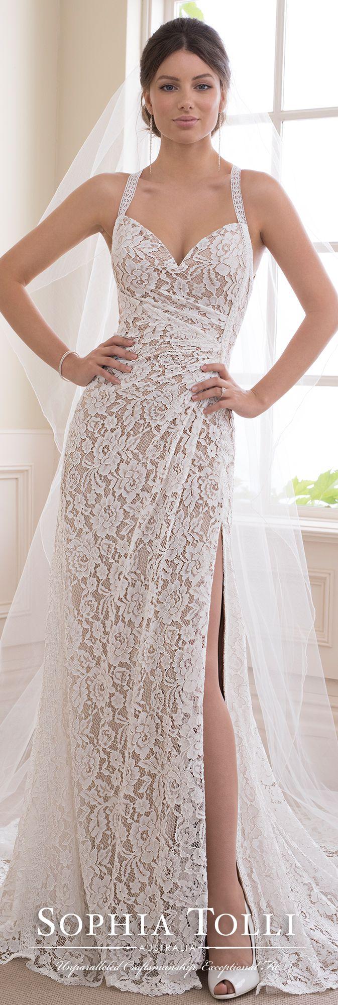 Boho chic allover lace sheath halter wedding gown vintage wedding