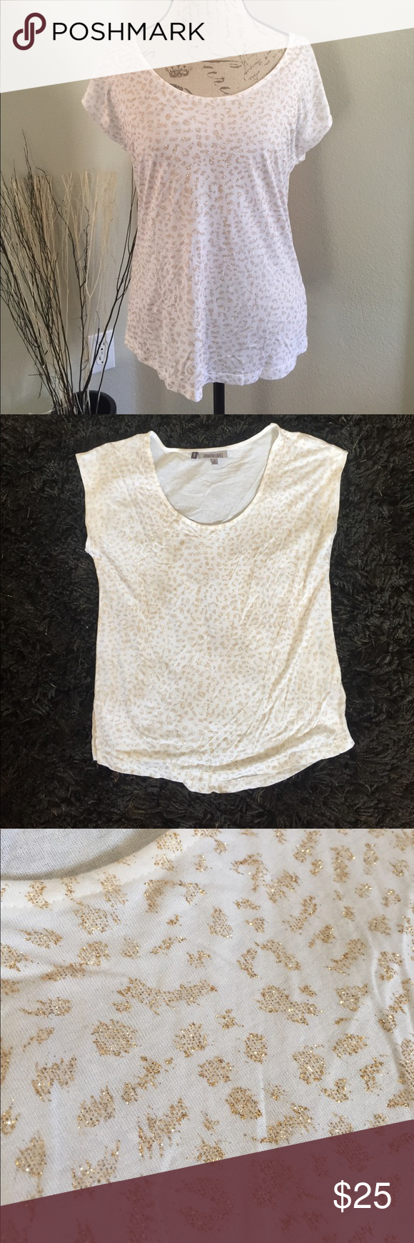 Jennifer Lopez T-Shirt 100% rayon, white t-shirt with glittery gold print. It's so pretty, but I only wore it once. If you don't mind leaving glitter ✨ behind while wearing this then you'll love it :) it would be cute for a night out with the girl and a pair of skinny jeans Jennifer Lopez Tops Tees - Short Sleeve