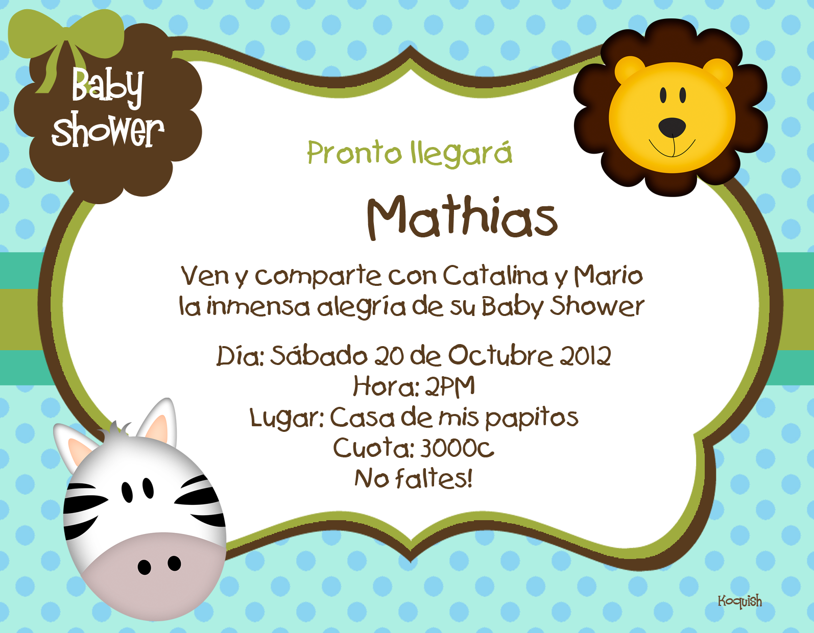 Koquish Invitaciones Digitales Para Baby Shower Invitaciones