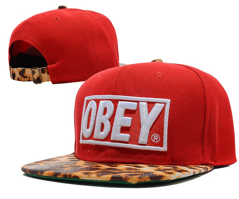 OBEY Snapback Caps Hats Reds Metal Buttons Snakeskin