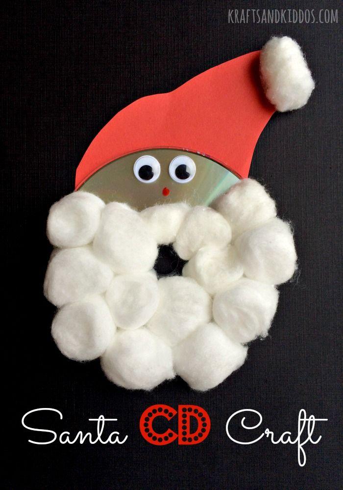 Santa Craft using a CD | Jól | Pinterest | Santa crafts, Santa and Craft