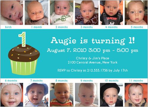 Twelve Months Blue Birthday Invitation Blue Birthday Birthdays - Baby boy birthday invitation card design