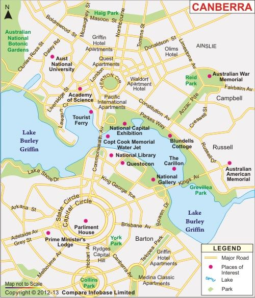 Map of Canberra the capital city of Australia Maps Pinterest