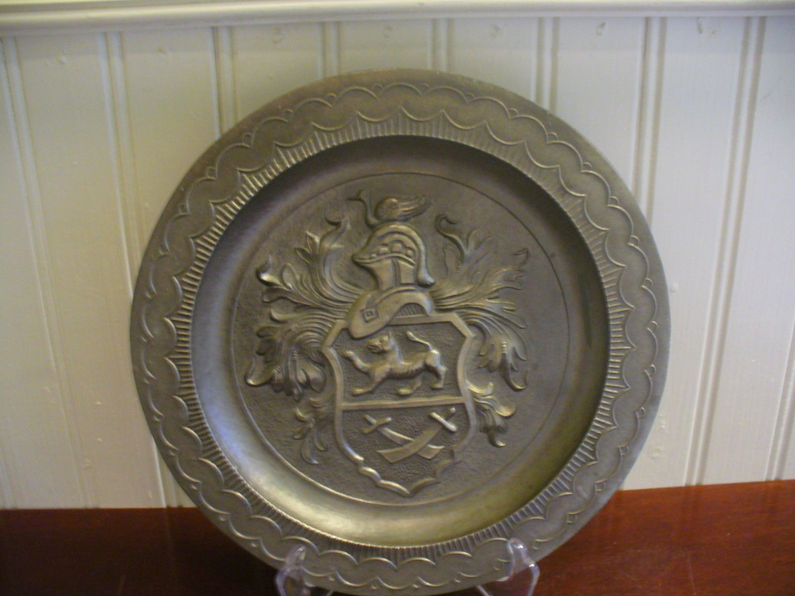 "Vintage Embossed Pewter Coat of Arms Motif 8 25"" Hanging Wall"