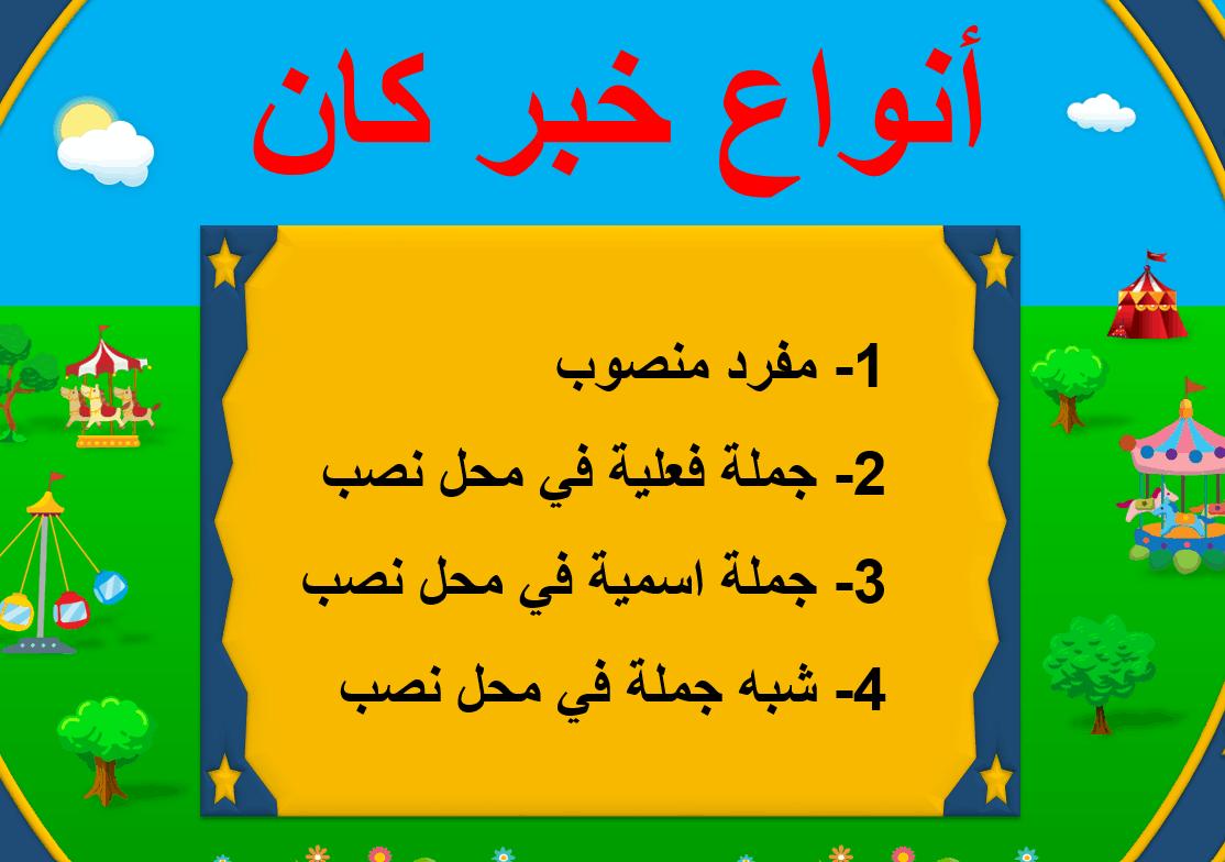 حل درس أنواع خبر كان الصف الخامس مادة اللغة العربية بوربوينت In 2021