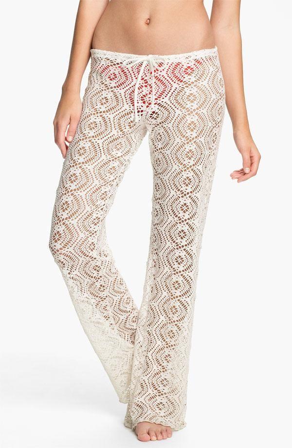 New 2013 Becca White Crochet Swimsuit Swim Cover Up Pants Sz Sp In