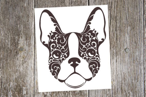 Boston Terrier Vinyl Decal Sticker Color Choice HIGH QUALITY