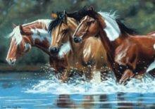 "Алмазная мозаика ""Лошади на водопое"""