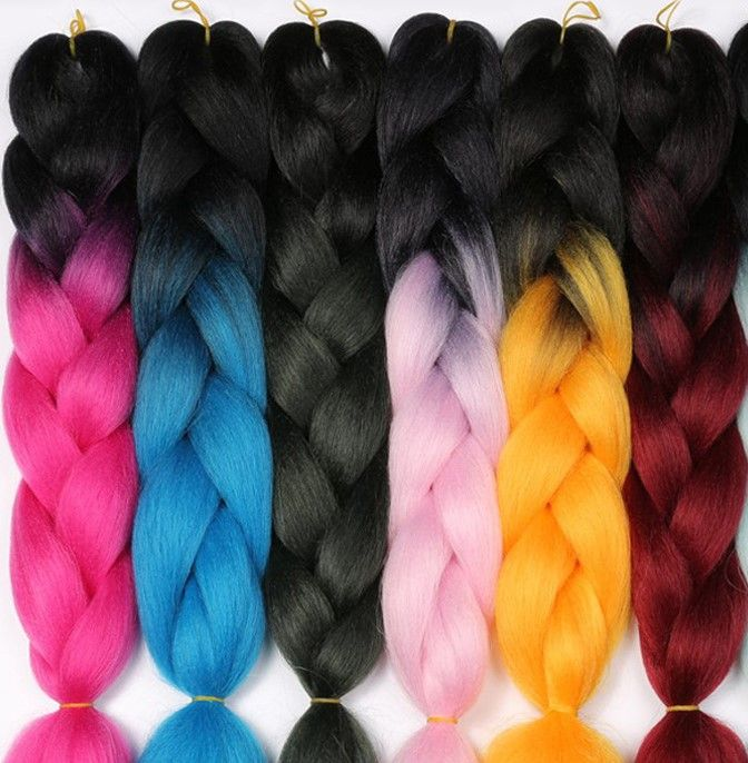 Indian Braids Hairstyle: Colorful Ombre Kanekalon Hair Braid