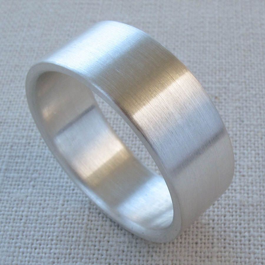 Men's Silver Wedding Band 8mm X 15mm Wide Flat Fat Thick Mens Ring Gold Platinum Palladium Bands: 12mm Silver Flat Wedding Band At Reisefeber.org