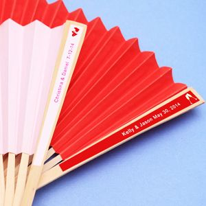 Keep Your Guests Cool And Trendy With Solid Paper Fans Personalized These Side Hand Fan