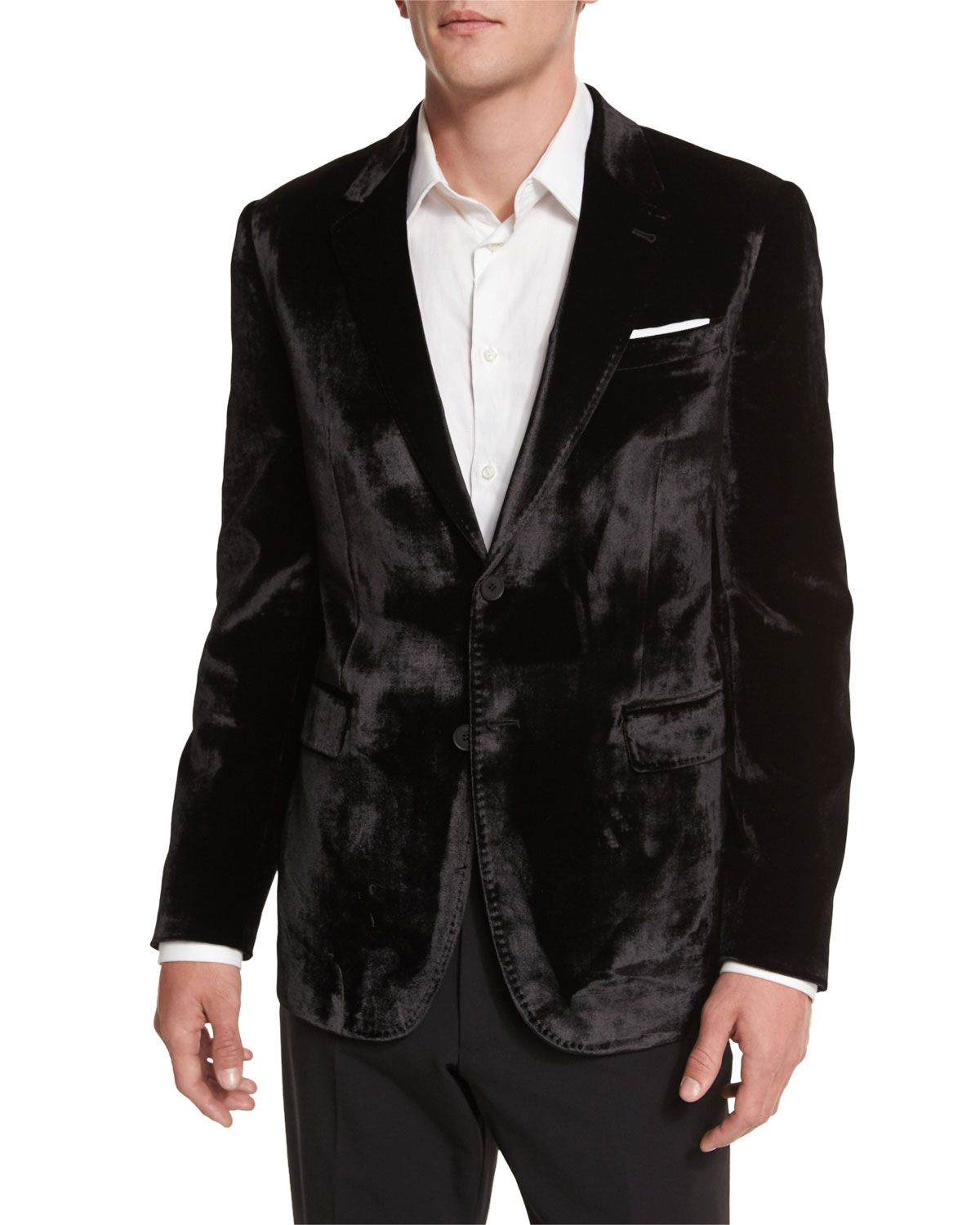 Bayard Liquid Velvet Two-Button Jacket, Black - Paul Smith