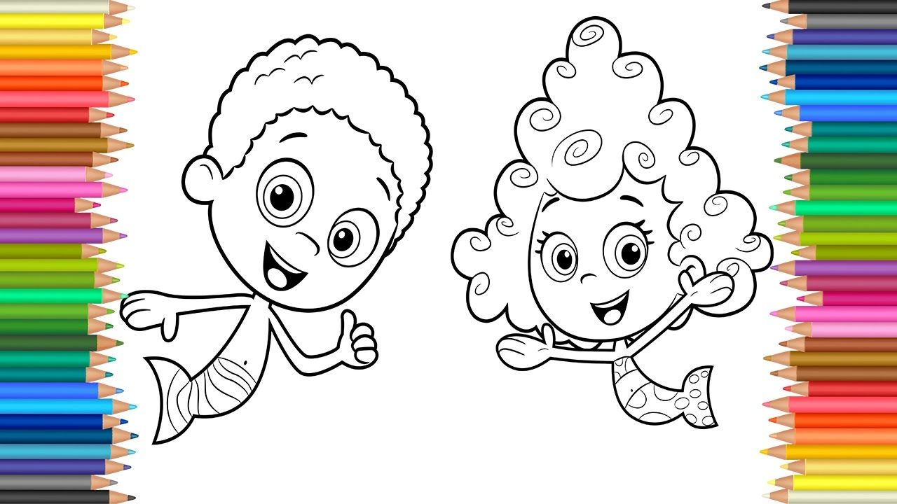 Bubble Guppies Coloring Pages Goby and Deema l Colours For Kids l ...