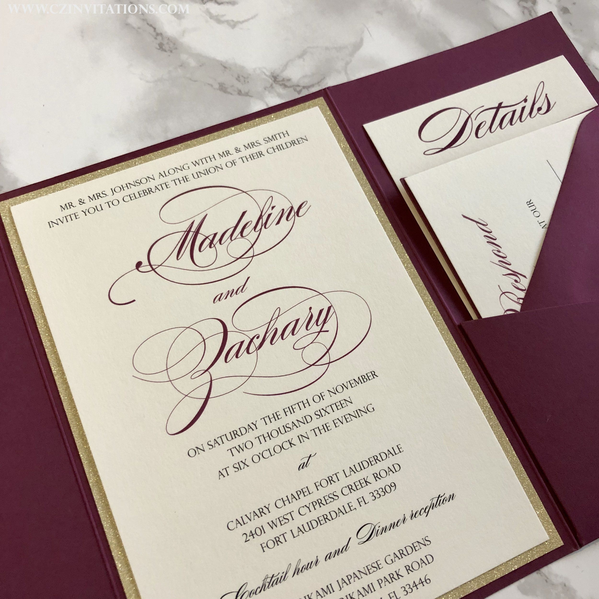 Burgundy And Gold Glitter Pocket Wedding Invitation In