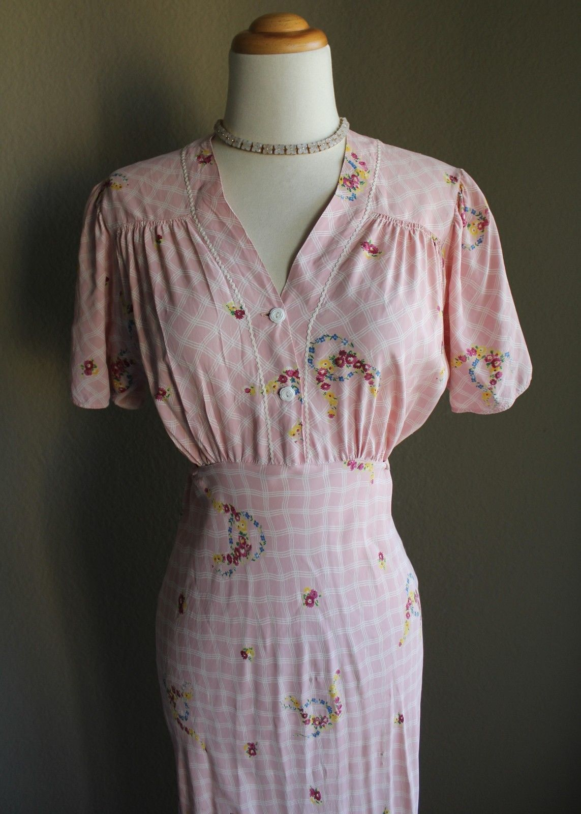 Vintage us us pink floral print floor length maxi dress ebay