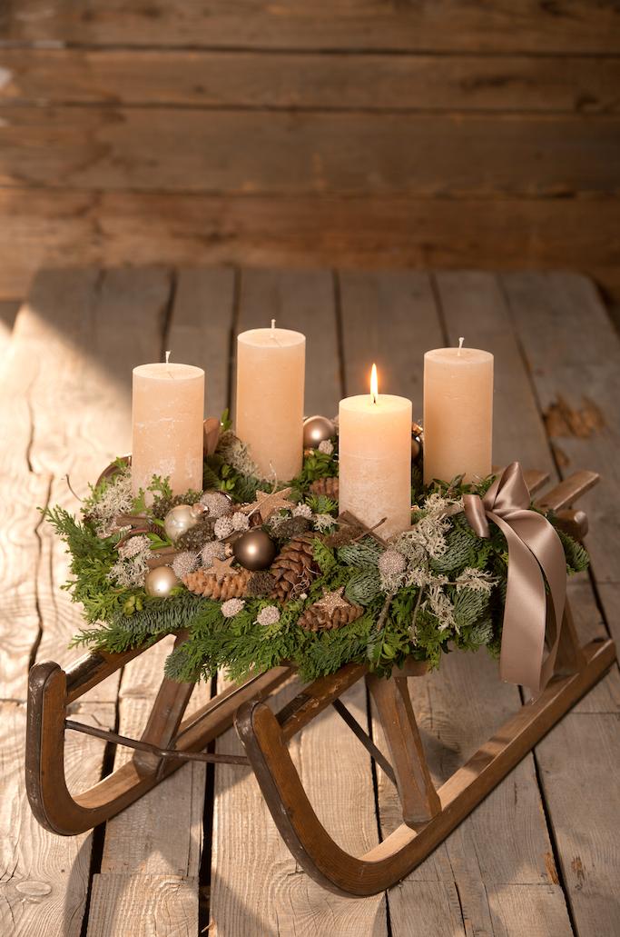 Kerzen Platanenzapfen Eichenmoss Baumkugeln Satinband Buchsbaum Kieferzapfen Lebensbaum Zi Weihnachten Dekoration Weihnachtsdekoration Deko Weihnachten