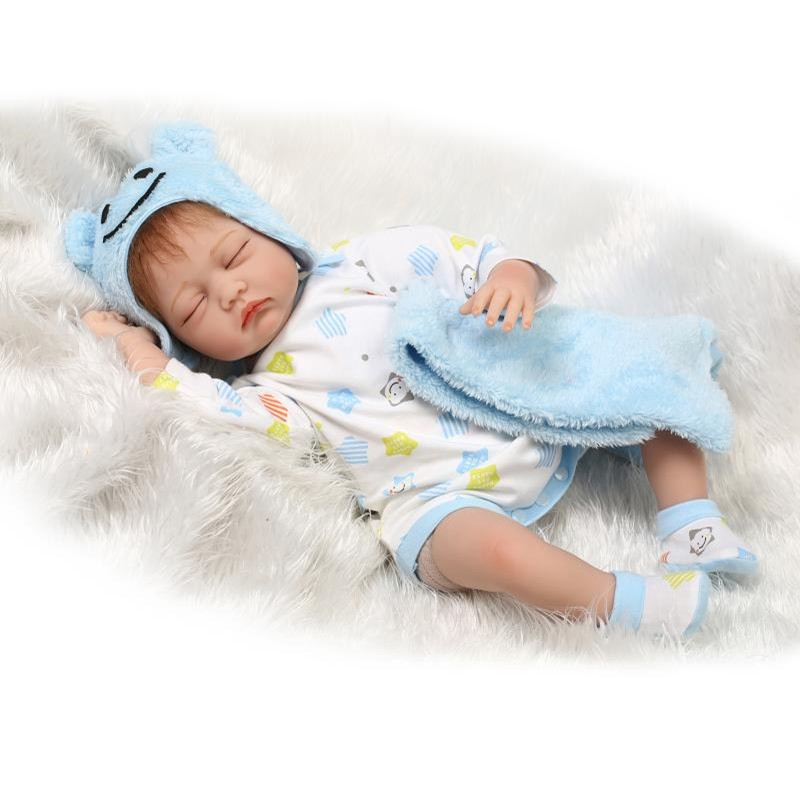 96.31$  Watch here - http://aliqde.worldwells.pw/go.php?t=32689278535 - 2016 Fashion 22 inch Silicone Reborn Baby Dolls Sleeping Babies Real Vinyl Belly 55cm Dolls Reborn Toys Bouquets Juguetes