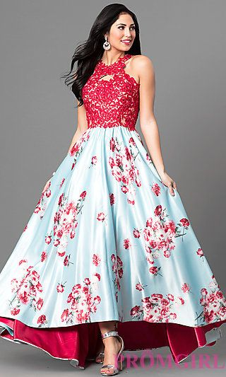 fb24ac815e3 Lace Applique Floral Print Prom Dress with High Low Hem
