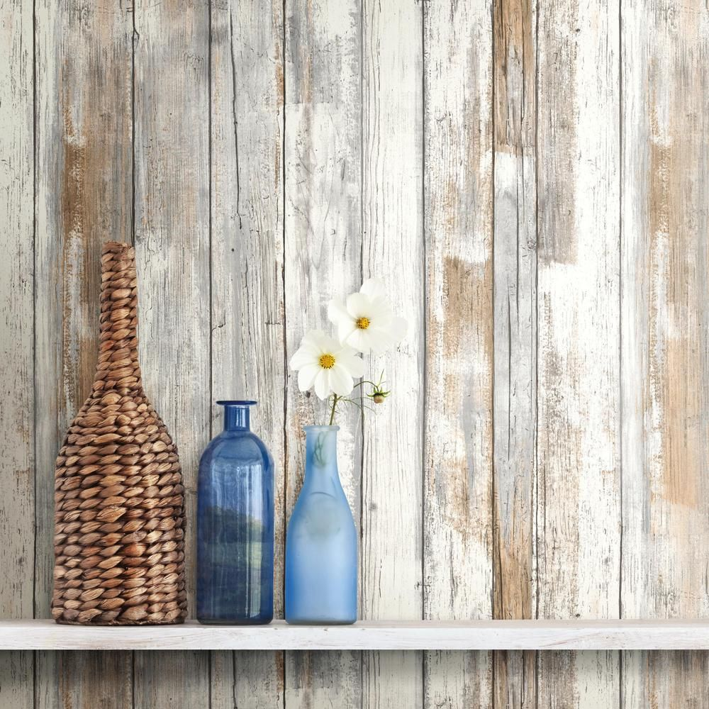 RoomMates 28.18 sq. ft. Distressed Wood Peel and Stick Wall Decor ...