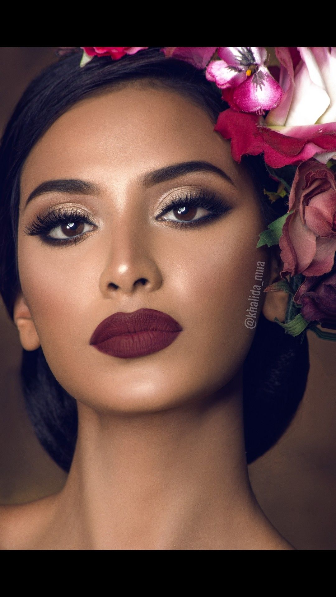 Flowers And Bold Lips Burgundy Makeup Look Makeup Tips Dark Skin Burgundy Makeup