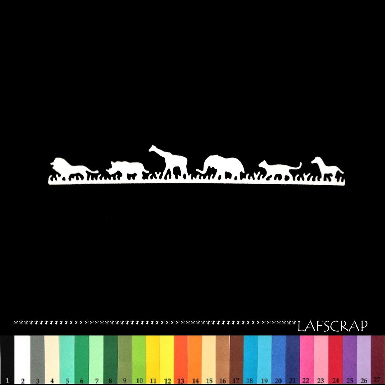 1 découpe bordure animaux savane girafe lion rhinocéros éléphant zèbre zoo scrapbooking embellissement album scrap die : Embellissements par lafscrap