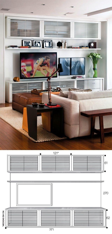 07 Projetos Racks Sala Tv M I N I S P L I T Pinterest Living  -> Medidas De Una Sala De Tv