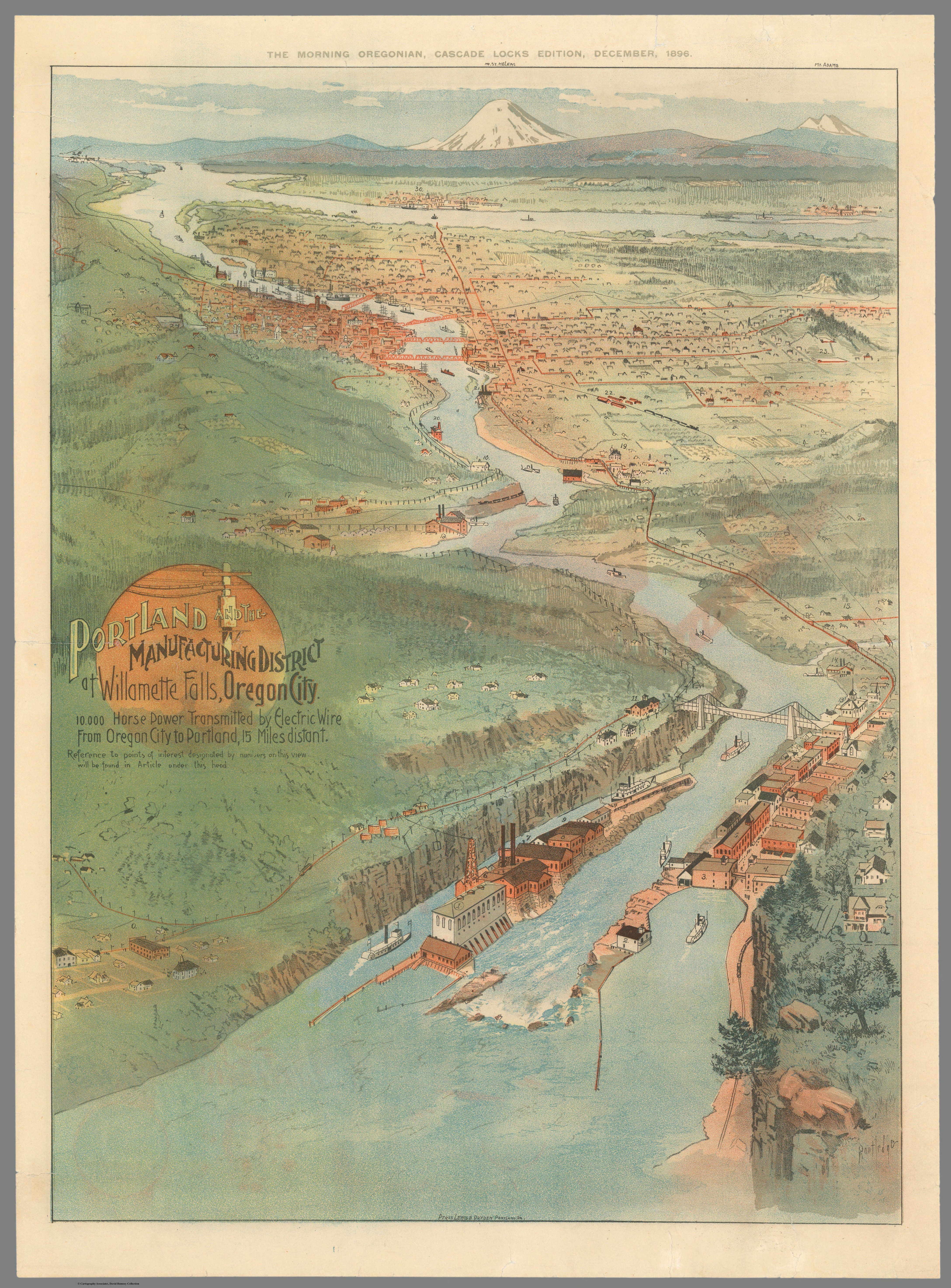 1896 Portland Manufacturing District of Willamette Falls Oregon City Map Poster