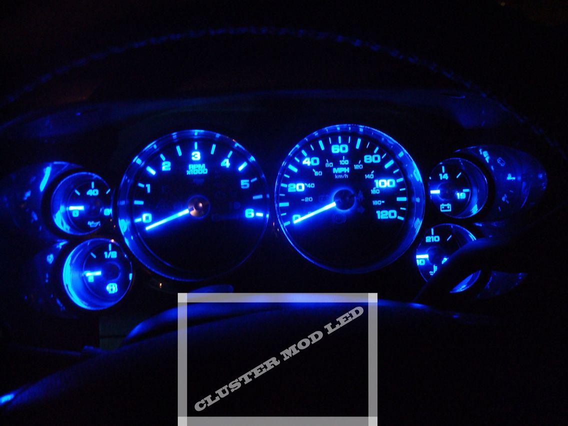 2010 Chevrolet Silverado Sierra Cluster LED Mod All Blue. Back Lighting  System Check Lights Pointer