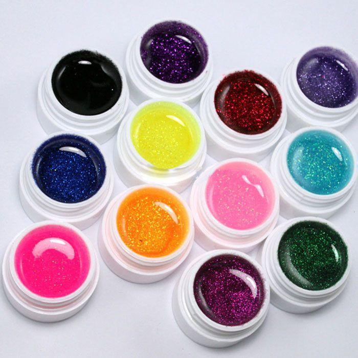 MF01 Stylish 12Colors Glitter Acrylic UV Gel Builder False Nails ...