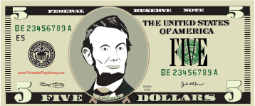 Printable 5 Play Money Play Money Bills Printable Abraham Lincoln Activities