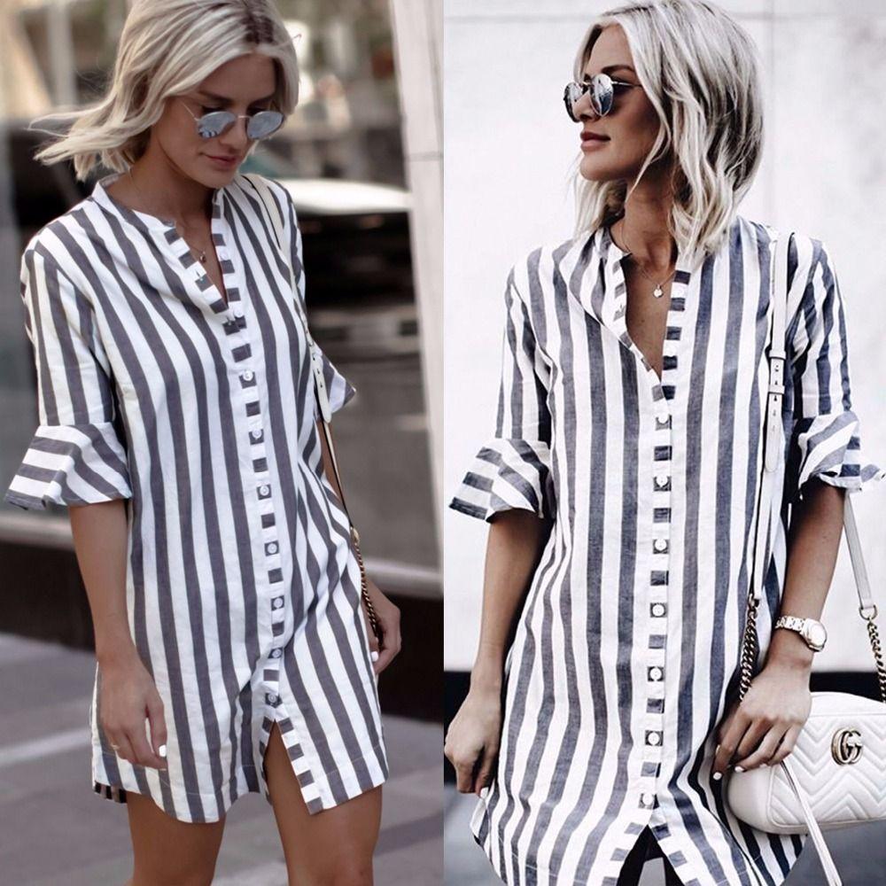 4fabdeceb46e New arrivals fashion women blue white striped half ruffle sleeve stand  collar women long button shirt women tops