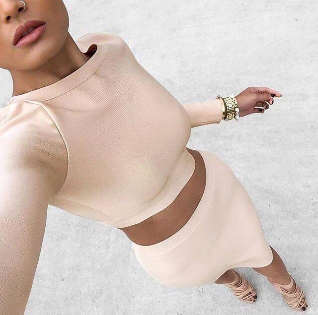 peach - pink crop top & skirt
