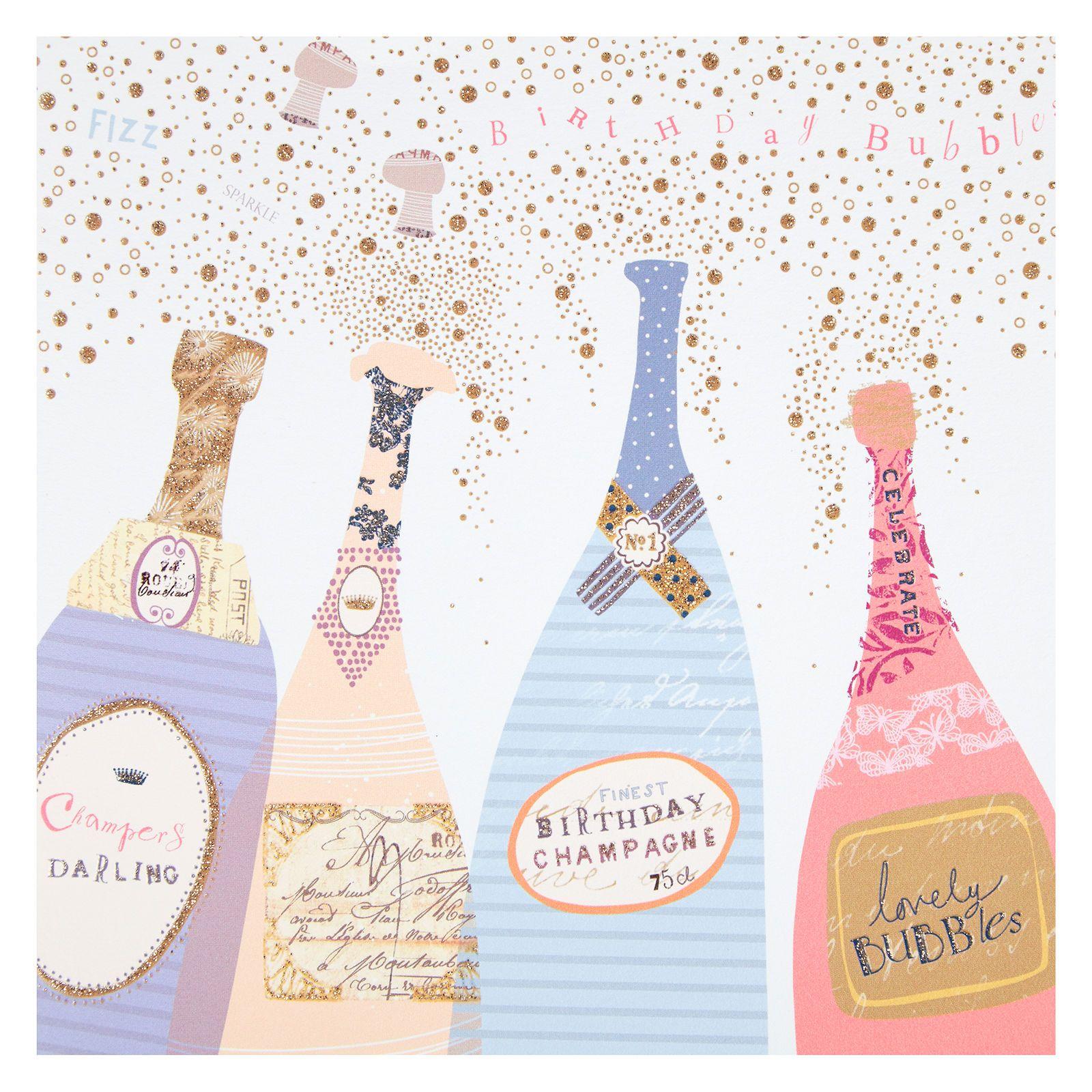 Woodmansterne Champagne Bottles Birthday Card Birthday