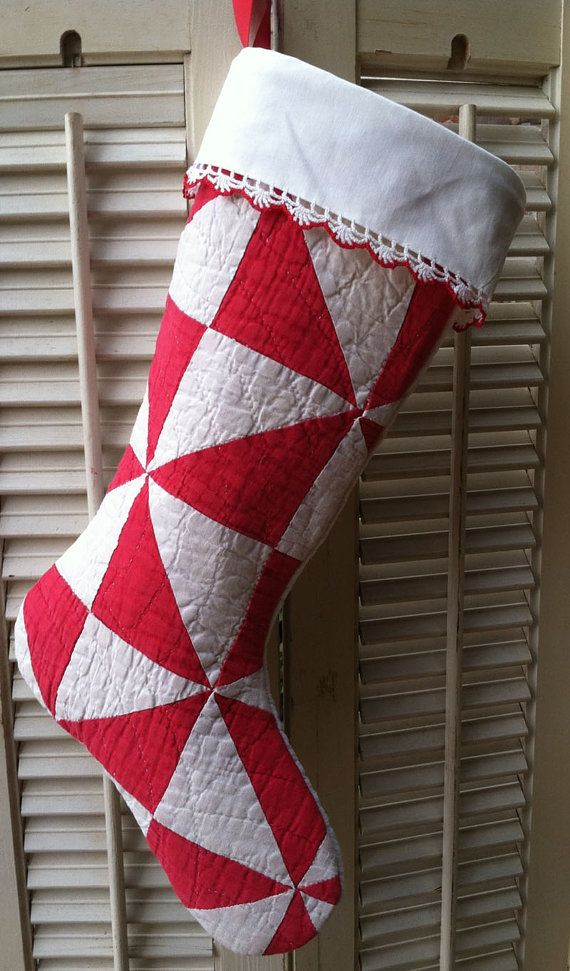 vintage quilt christmas stocking red white by reddirtthreads 2499