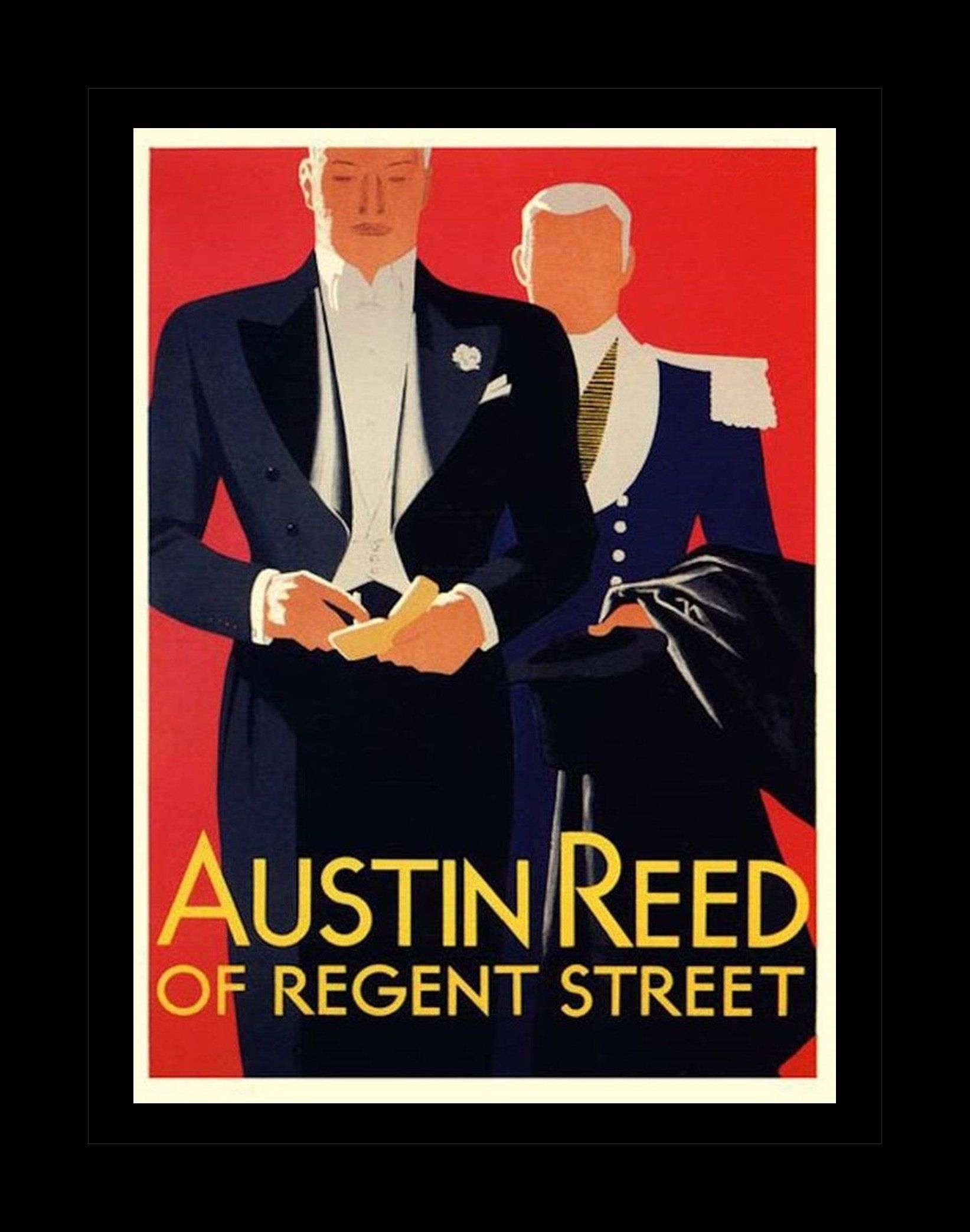 Vintage Austin Reed Ad Illustration Poster Gift For Men Red Black Bathroom Wall Art Tuxedo Mens Cl Austin Reed Vintage Advertising Posters Vintage Austin