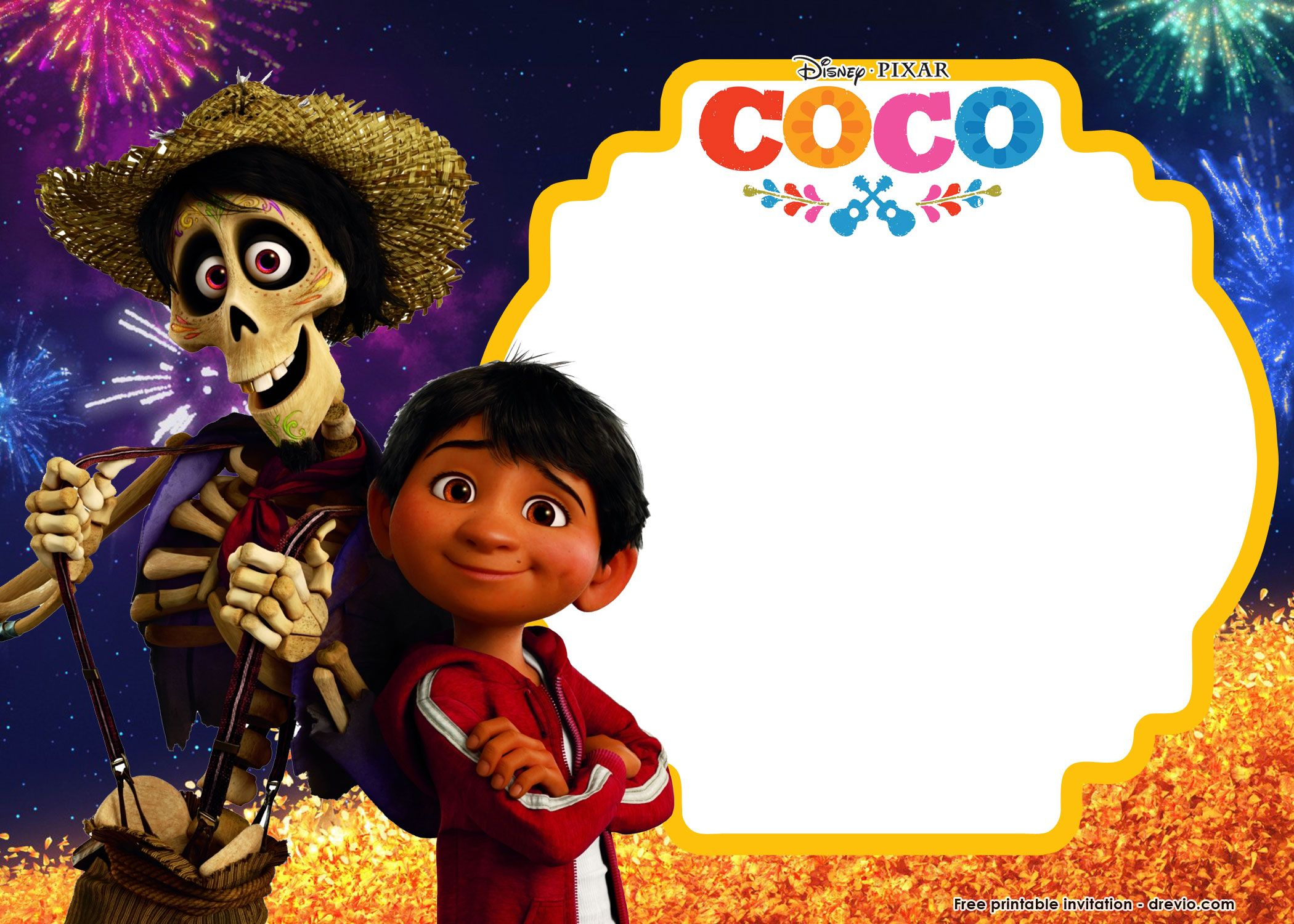 free printable disney coco birthday invitation