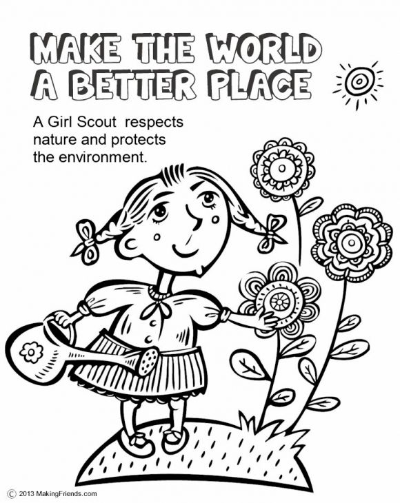 Girl Scout Making The World A Better Place Coloring Page